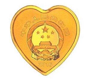 8克心形精制金质纪念币正面图案