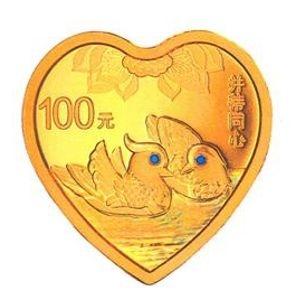 8克心形精制金质纪念币背面图案