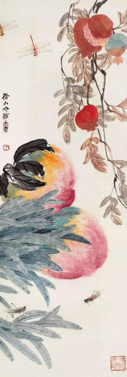 齐白石《大寿多子图》,镜心 纸本,98×33cm