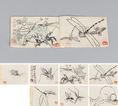 齐白石草虫写生册 册页 (七开) 水墨纸本 成交价:68.44万港币
