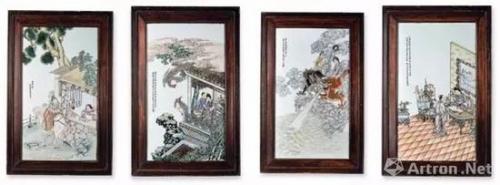 民国邓碧珊画人物故事图瓷板一堂 成交价:430.7万港币
