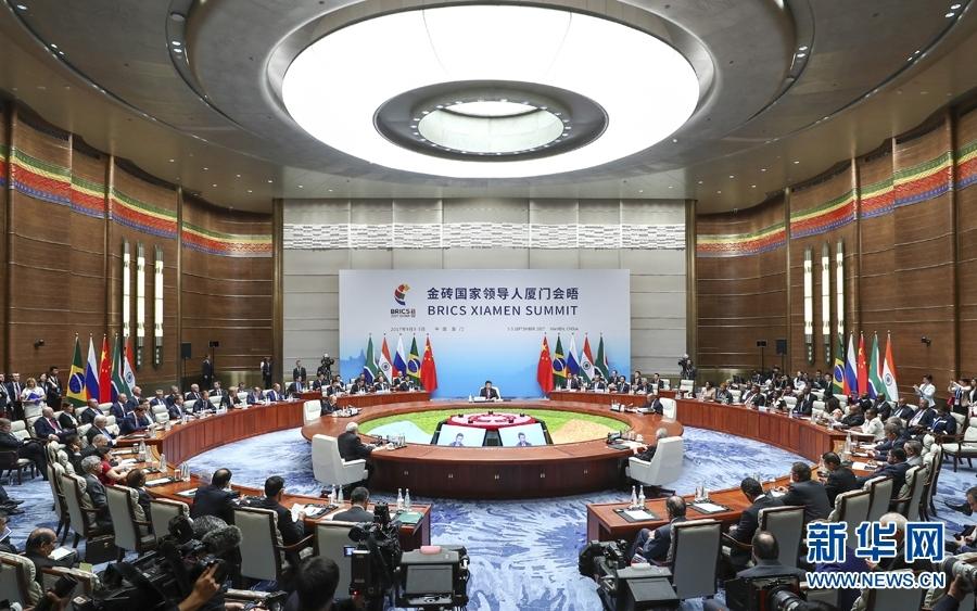 9月4日,金砖国家领导人第九次会晤在厦门国际会议中心举行。国家主席习近平主持会晤并发表题为《深化金砖伙伴关系 开辟更加光明未来》的重要讲话。南非总统祖马、巴西总统特梅尔、俄罗斯总统普京、印度总理莫迪出席。 新华社记者 谢环驰 摄