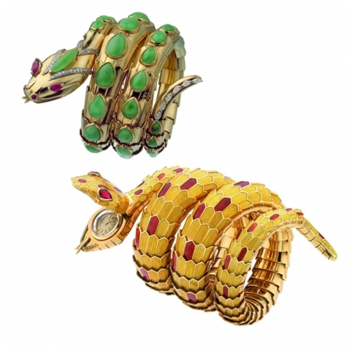 宝格丽古董典藏系列18K黄金蛇形手镯以及黄金镶嵌彩色珐琅蛇形手镯腕表。,图片来源宝格丽。