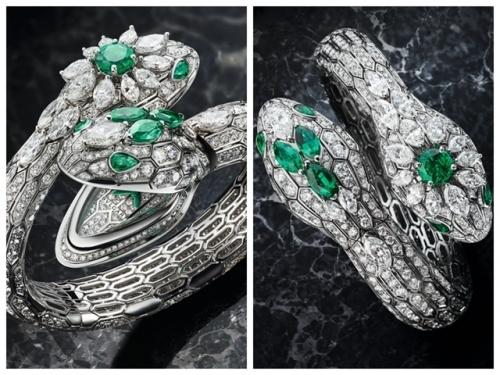 """入围GPHG日内瓦高级钟表大赏最佳珠宝表的""""双头蛇""""serpenti珠宝表,图片来源宝格丽。"""