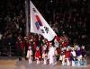 2月25日,韩国国旗在闭幕式上升起。当日,2018年平昌冬奥会闭幕式在平昌奥林匹克体育场举行。 新华社记者李钢摄
