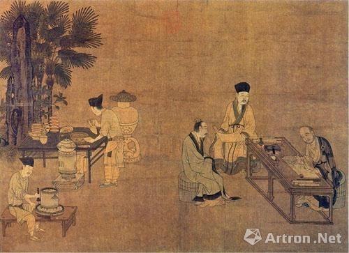 刘松年画作中古人碾茶的画面