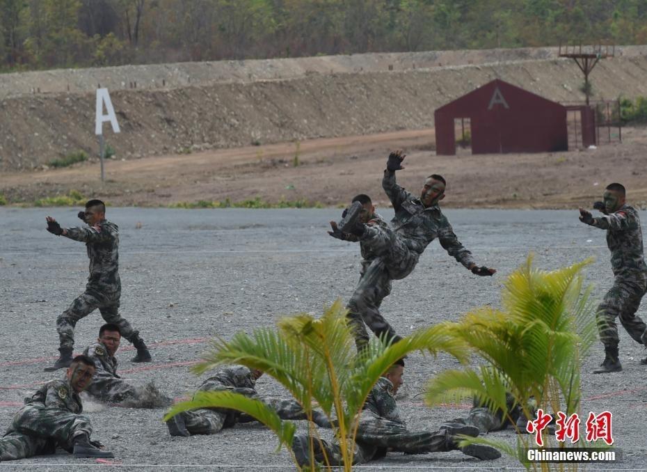 图为参加结训的中方部队举行擒拿表演。 中新社发 联演中方指导组供图