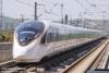 """4月9日,一列""""复兴号""""动车组驶离南京南站。"""
