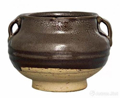 元山西窑口黑釉油滴双系罐