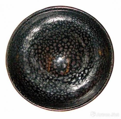 金代黑釉油滴碗(俯视)