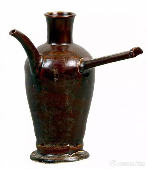 唐长沙窑黑釉横柄壶