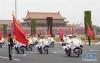 6月6日,摩托车护卫队护卫外宾主车至人民大会堂东门外广场东北口。在外宾主车抵达沿途增设80名手持红旗的仪仗兵旗阵,进一步提升欢迎氛围。