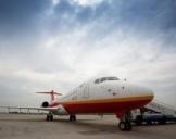"""中国首架拥有自主知识产权民用支线飞机""""翔凤""""抵达扬州"""
