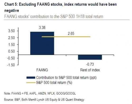 在FAANG的带动下,整个科技板块几乎成了美股上涨动力的唯一来源,上半年