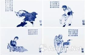 民国王步青花人物故事瓷板(一组四件),成交价2932.5万元