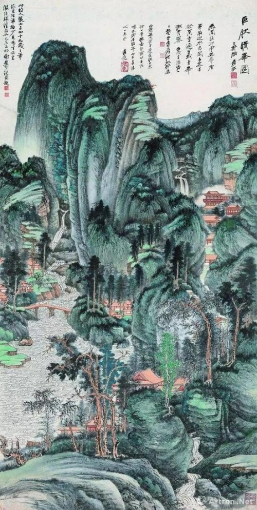 张大千 巨然晴峰图 168.5×85 cm 成交价:RMB 1.035亿元拍卖公司:中国嘉德