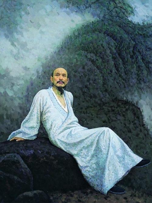 靳尚谊 (b.1934) 画僧髡残 布面油画
