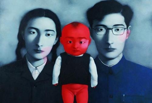 张晓刚(b.1958)血缘:大家庭1号布面油画