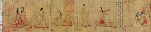 (图二)女史箴图 东晋 顾恺之 绢本设色 手卷,高24.8 厘米,宽348.2 厘米 英国大英博物馆藏