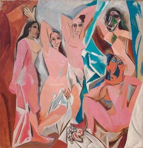 巴勃罗`毕卡索《亚维农的少女》1907年作美国纽约现代艺术博物馆藏